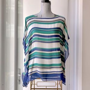 Silk Striped Sheer Top